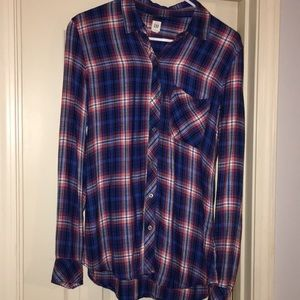 GAP blue and red soft wash plaid shirt